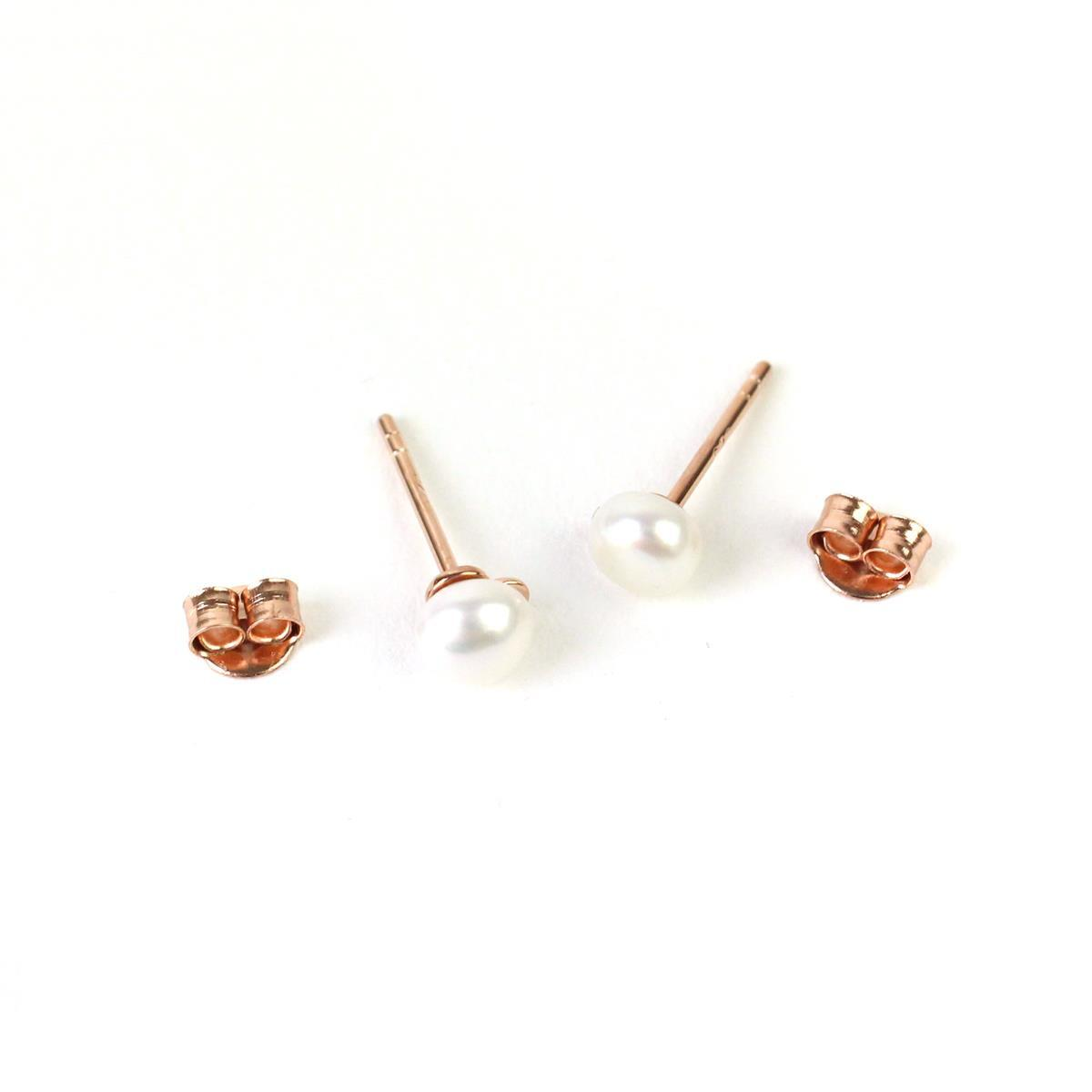 a27c797ee Rose Gold Plated 925 Sterling Silver Freshwater Cultured Pearl Earring  Finding with Butterfly Back 5mm 1 Pair