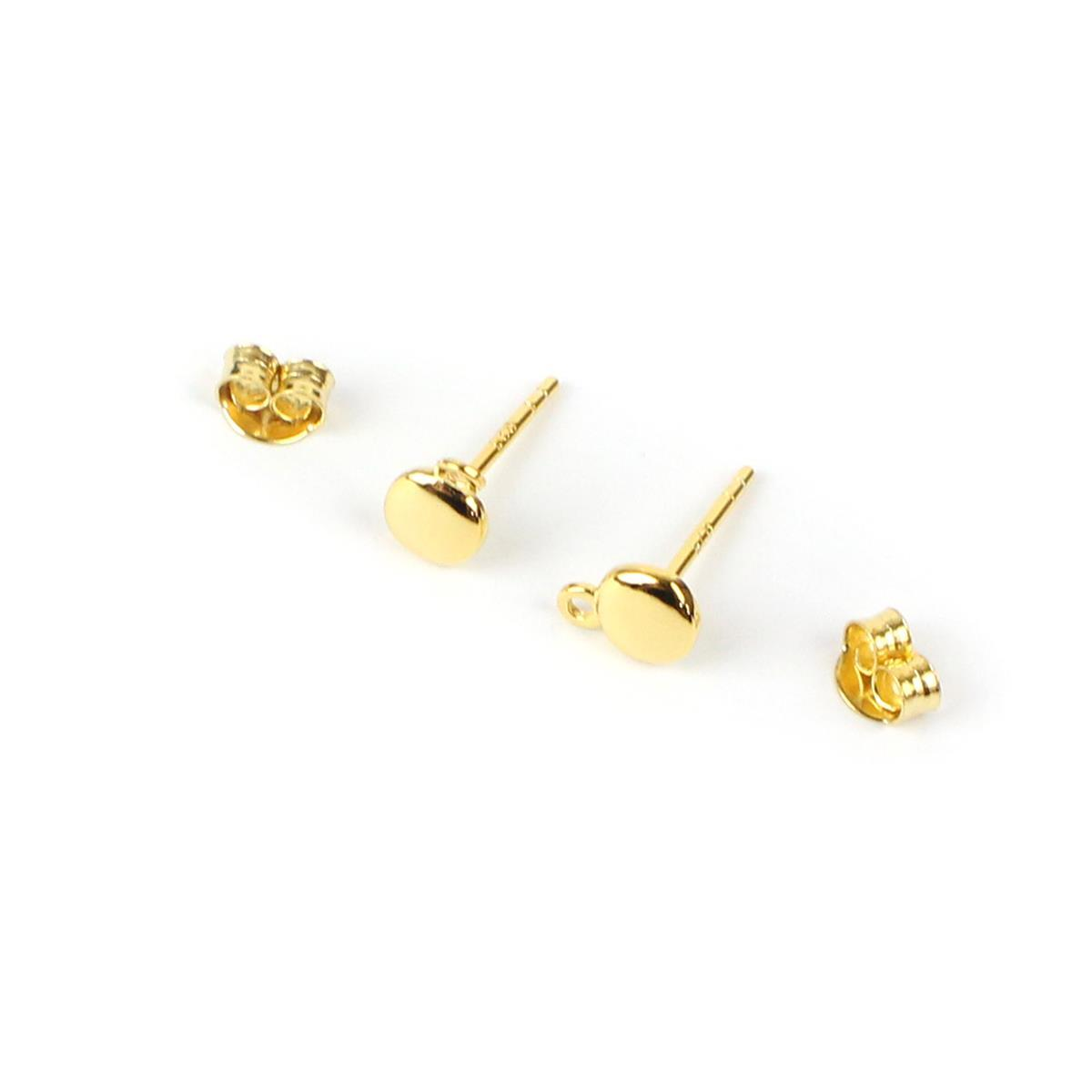 c9205ad8c Gold Plated 925 Sterling Silver Pebble Earring Finding with Butterfly Back  Aprrox 5mm, 1 Pair