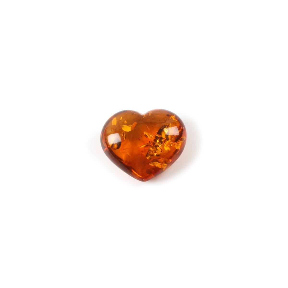 Baltic Cognac Amber 3D Heart-Shaped Cabochon - 31x24mm