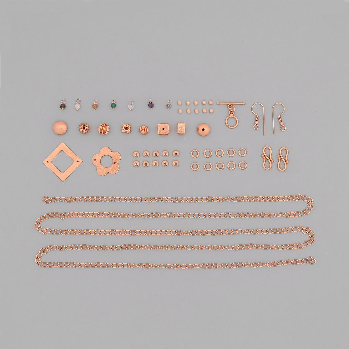 Rose Gold Plated Copper Jewellery Findings Kit with Approx 525cts