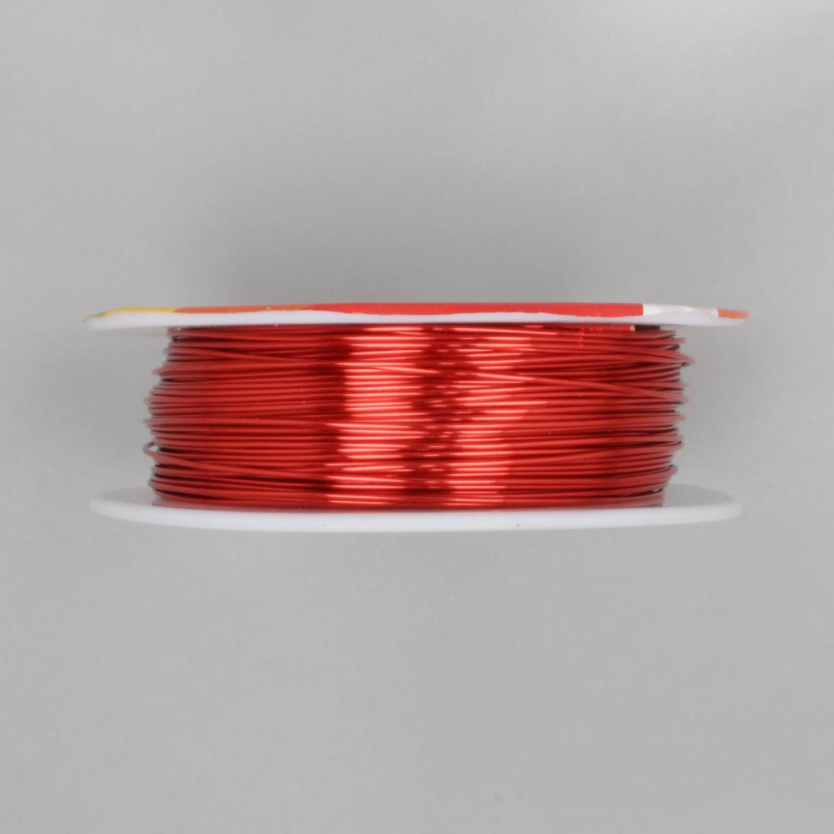 50m Hot Red Coloured Copper Wire Approx 0.80mm | JewelleryMaker.com