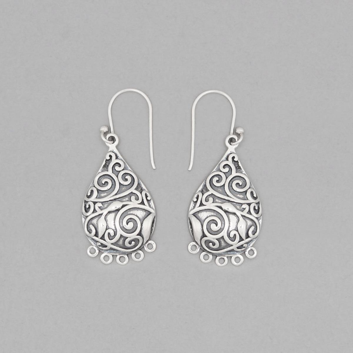 925 Sterling Silver Oxidized Vintage Earrings Chandelier