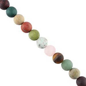 425cts Multi Gemstones Matte Finished Plain Rounds Approx 13mm, 28cm Strand.