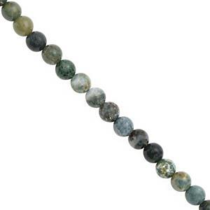 77 cts Moss Agate Smooth Round Approx 6.35mm, 28cm Strand