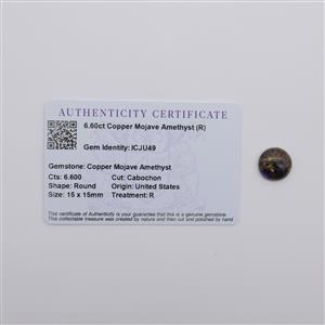 6.6cts Copper Mojave Amethyst 15x15mm Round (R)