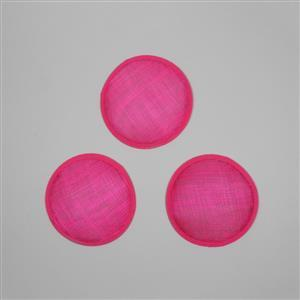 Cambric Fascinator Bases Cerise Round Approx 13.5cm - 3pcs/Set
