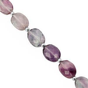 65cts Multi-Colour Fluorite Faceted Oval Approx 10x8 to 18x13.5mm, 17cm Strand with Spacers