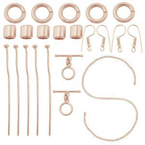 Rose Gold Plated Base Metal Essential Findings Kit (21pcs)