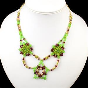 Happy Holly-Days Inc SuperDuo Opaque Green Beads  & Miyuki Garnet Lined Ruby AB Seed Beads