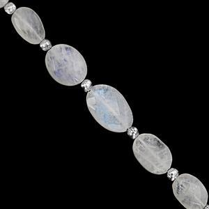 48cts Rainbow Moonstone Graduated Faceted Oval Approx 8.5x6 to 15.5x12mm, 16cm Strand with Spacers