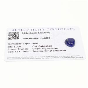 5.3cts Sar-i-Sang Lapis Lazuli 12x12mm Triangle  (N)