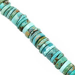 55cts Turquoise Smooth Wheels Approx 4.5x1 to 8x3mm, 20cm Strand
