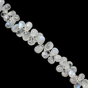 100cts Rainbow Moonstone Top Side Drill Graduated Faceted Drops Approx 5x3.5mm to 11.50x6.50mm, 19cm Strand
