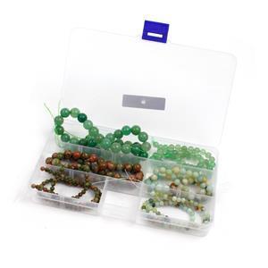 6 Strands in Box Green Aventurine, Unakite & Amazonite Plain Round 4,6,8,10mm 15-16