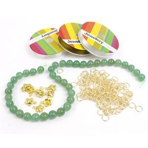 Green Aventurine Stretchy Bracelet with Hibiscus Charms Kit
