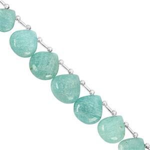 105cts Amazonite Top Side Drill Graduated Smooth Heart Approx 11 to 17.50mm, 21cm Strand with Spacers