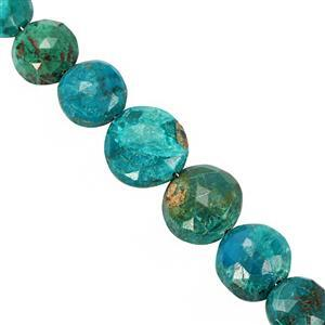 51cts Chrysocolla Faceted Coin Approx 6mm to 11mm 20cm Strand