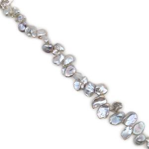 Silver Freshwater Cultured Keshi Pearls Approx 12- 18mm, 38cm Strand