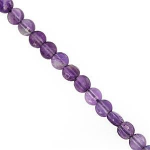 20cts Amethyst Faceted Puffy Coin Approx 4mm, 29cm Strand