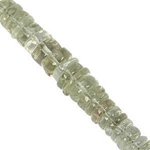 105cts Green Amethyst Graduated Smooth Wheels Approx 5.5x1.5 to 10.5x4.5mm, 19cm Strand