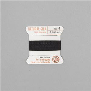Silk Thread Size 04 (.6mm, .024 in) - Black, with needle, 2m (6.5ft)