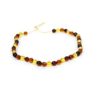 Baltic Multi Colour Amber Micro Faceted Rounds Inc. Cognac, Cherry, Lemon, Approx. 5mm 20cm