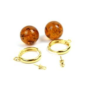 Gold Plated Sterling Silver Hoop Earrings (25mm) With Baltic Cognac Amber Rounds (12mm) - 1 Pair