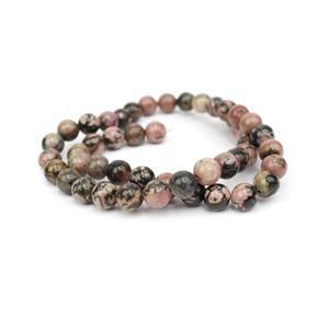 220cts Rhodonite Plain Rounds Approx 8mm, 38cm Strand