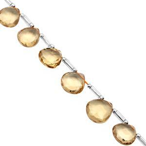 32cts Bolivian Citrine Faceted Fancy Hearts Approx 7 to 9.5mm, 14cm Strand with Spacers