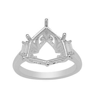 Rudi Wobito Alpine Cut 925 Sterling Silver Ring Mount With White Zircon Baguette Side Detail (To Fit 12mm Alpine Cut Stone)