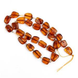 Baltic Cognac Amber Beads, Approx. 10-12mm With Silver 925 Spacers (38cm Strand)