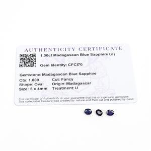 1cts Madagascan Blue Sapphire 5x4mm Fancy Pack of 3 (U)