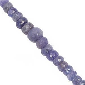 45cts Tanzanite Graduated Faceted Rondelle Approx 3x1.5 to 6.5x4.5mm, 20cm Strand