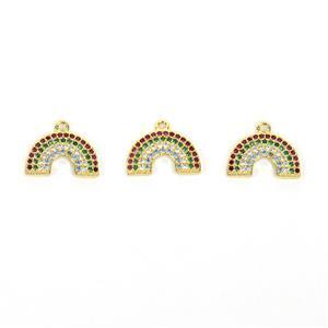 Gold Plated Base Metal Rainbow Charm with Multi-Colour CZ, Approx. 14mm (3pk)