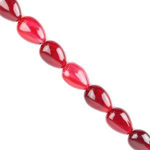230cts Cerise Stripe Agate Puffy Pears Approx 13x18 mm, 38cm/strand