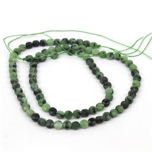 40cts Ruby Zoisite Faceted Coins Approx 4mm, 38cm Strand