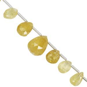 40cts Yellow Diopside Faceted Pear Approx 6x4mm to 14x10.4mm 22cm Strand with spacer