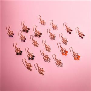 10 Pairs Rose Gold Plated Lotus Chandelier Gemstone Earrings
