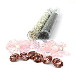 Pink Elephant; Swarovski Crystal Rivoli 6pcs, Czech Rose Petals 8x7mm 100pc, Miyuki & Booklet