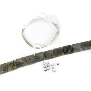 Star Gazer; 230cts Labradorite Faceted Squares, 925 Silver Star Spacers & 0.8 Wire
