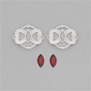 925 Sterling Silver Connector Mount Fits 8x4mm Marquise Inc. 1.25cts Garnet 8x4mm Marquise with 0.14cts White Topaz Approx 1mm Round (2pcs)