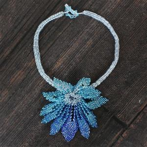 Blue Notes: Russian Leaf ombre seedbead project in shades of blue with findings & fireline
