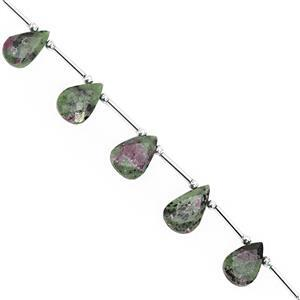 55cts Ruby Zoisite Top Side Drill Faceted Pear Approx 10x7 to 16x11mm, 14cm Strand with Spacers