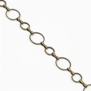 Antique Plated Bronze Copper Plain Round Loop Chain - 12mm & 8mm (1m)