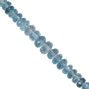 18cts London Blue Topaz Faceted Rondelles Approx 3x2.1mm to 5.87x3.85mm 10cm Strand