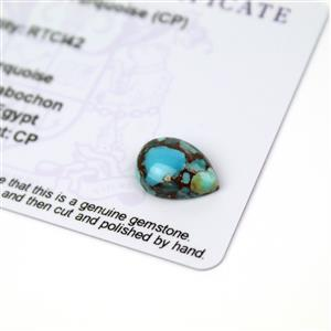 2.9cts Egyptian Turquoise 14x10mm Pear (CP)