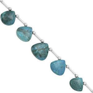 65cts Chrysocolla Graduated Plain Heart Approx 9 to 13mm, 16cm Strand with Spacers