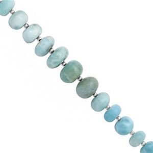 CLOSE OUT DEAL - 55cts Larimar Graduated Smooth Rondelle Approx 5x2.5 to 10.5x6mm, 19cm Strand with Spacers