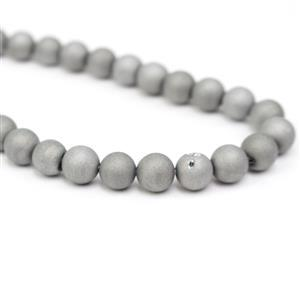 175cts Silver/Grey Drusy Coated Quartz Plain Rounds Approx 8mm, 38cm Strand