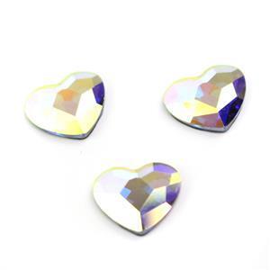 Swarovski Heart Flat Back 2808 (Hot Fix) 10mm Crystal AB MHF 3pk